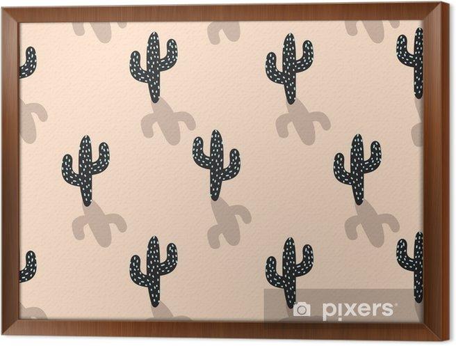 Tableau Encadré Modèle Sans Couture De Vecteur Plante Cactus Dessin Animé Abstrait Blush Couleur Désert Impression De Tissu Cactus De Style