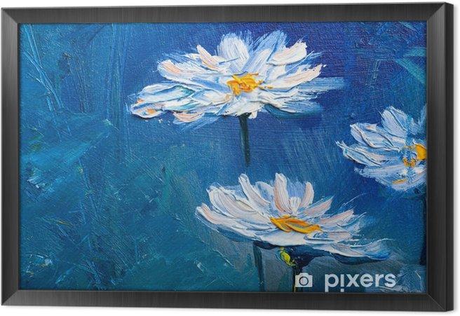 Tableau encadré Peinture à l'huile marguerite fleurs - Passe-temps et loisirs