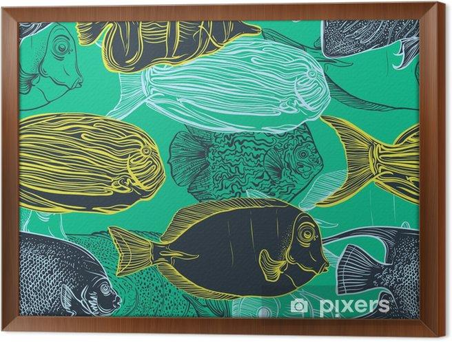 Tableau encadré Seamless avec collection de tropical ensemble de la main illustration tirée de fauna.Vector marine en ligne art style.Design pour la plage d'été, des décorations fish.Vintage. - Animaux