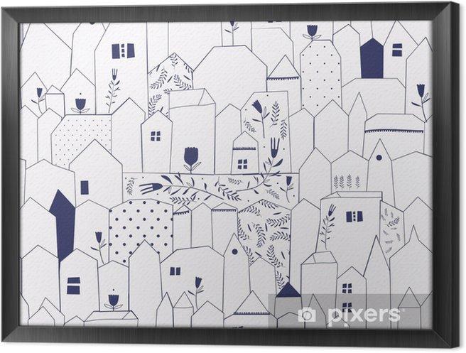 Tableau encadré Seamless pattern. Figure villes de style vintage. - Styles