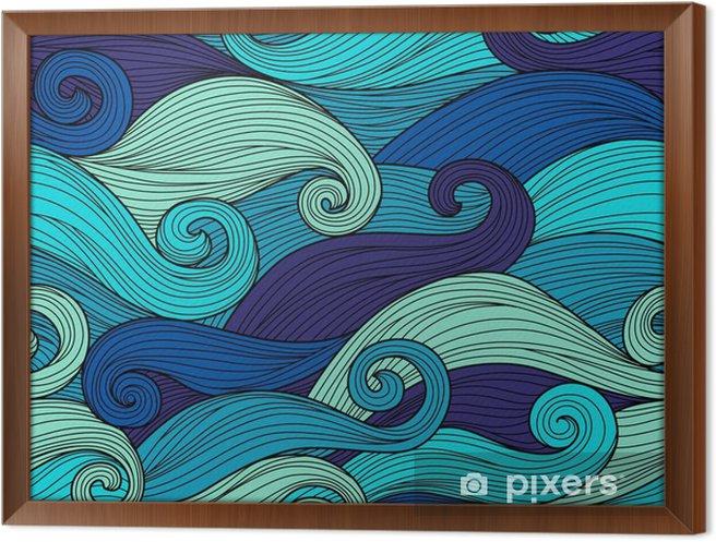 Tableau encadré Vector seamless pattern avec des vagues abstraites - Paysages