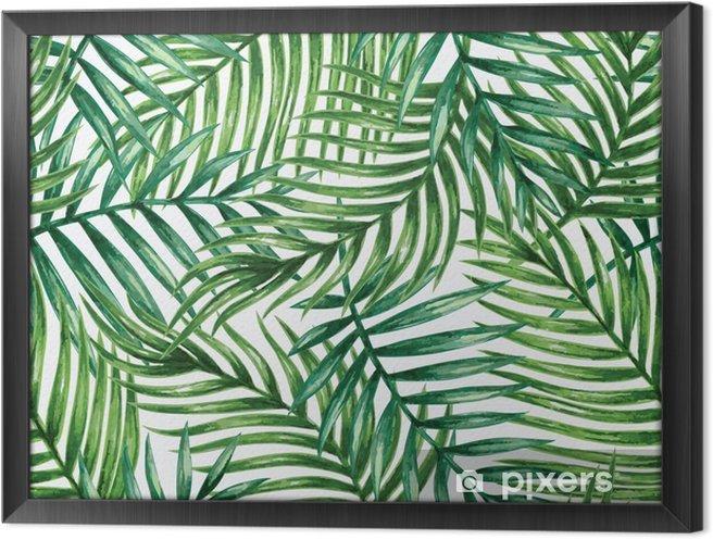 Tableau encadré Watercolor tropical palm leaves seamless pattern. Vector illustration. - Arrière plans