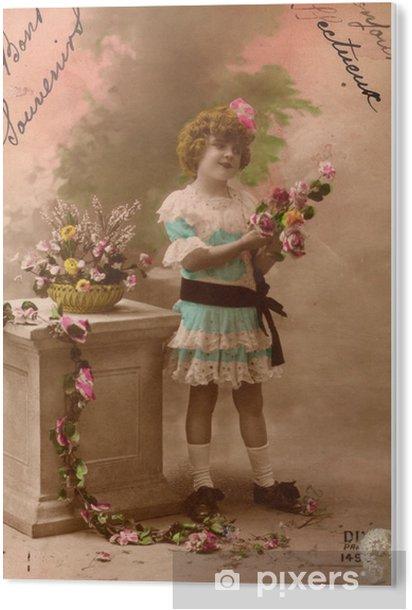 Tableau Plexiglas Français antique carte postale vintage petite fille. - Ressources graphiques