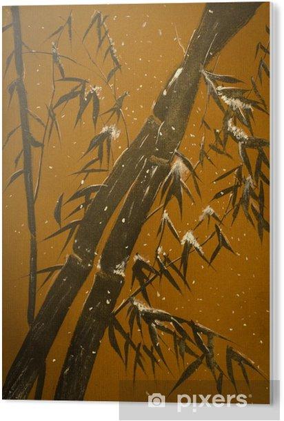 Tableau Plexiglas Le bambou et la neige - Plantes et fleurs