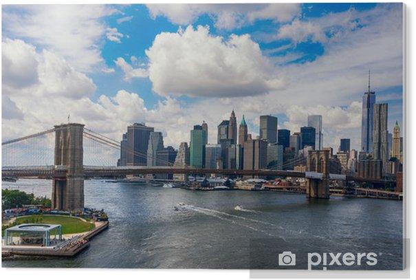 Tableau Plexiglas New York City dans la lueur du soleil couchant -