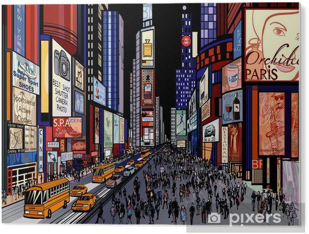 Tableau Plexiglas New York - vue de nuit de Times Square - Thèmes