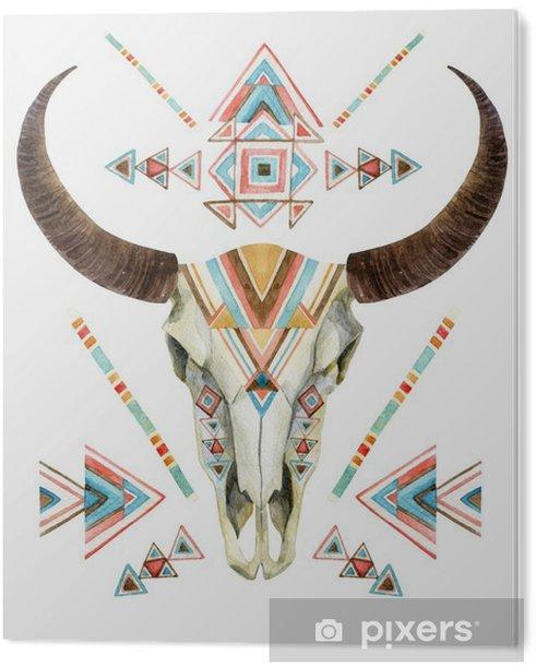 Tableau Plexiglas Vache crâne dans un style tribal. crâne animal avec ornement ethnique - Animaux