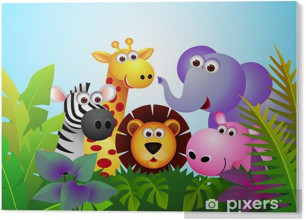 Tableau PVC Animal cartoon mignon dans la jungle - Pour élève