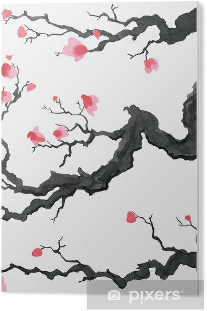 Tableau PVC Arbre de sakura dans le style de peinture japonaise. traditionnelle belle aquarelle illustration dessinée à la main - Ressources graphiques