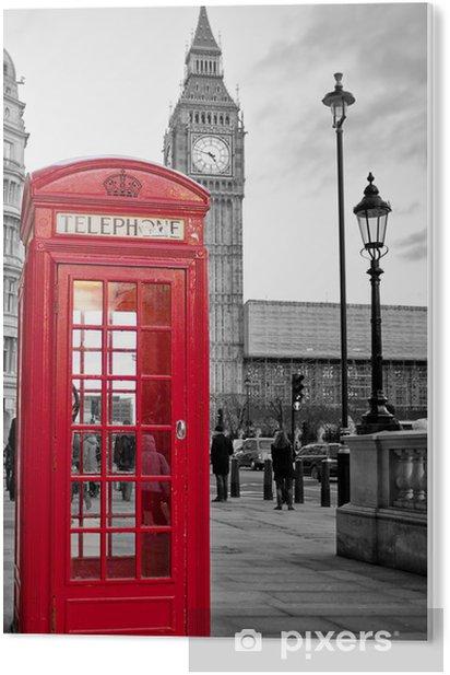 Tableau PVC Cabine téléphonique rouge à Londres avec Big Ben en noir et blanc -