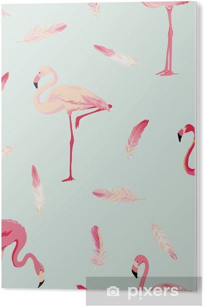 Tableau PVC Contexte Flamingo Bird. Contexte Flamingo Feather. Seamless Retro - Animaux