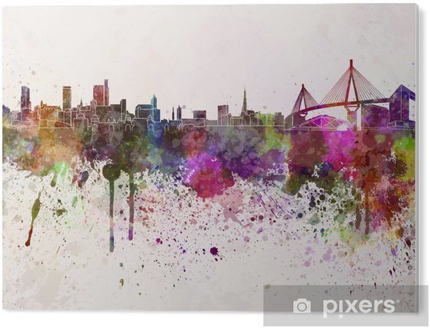 Tableau PVC Hambourg horizon dans le fond d'aquarelle - iStaging