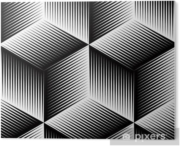 Tableau PVC Illusive géométrique abstrait modèle 3d seamless noir et blanc. - Arrière plans