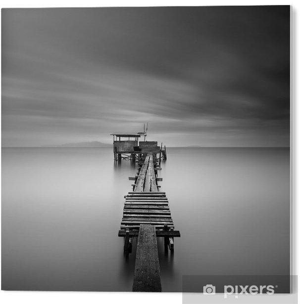 Tableau PVC L'image d'art de la jetée de pêche en bois à la plage de l'exposition en noir et white.Long tourné avec le flou de mouvement. - Paysages