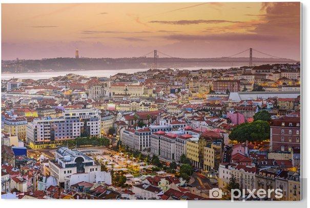 Tableau PVC Lisbonne, Portugal Skyline au crépuscule - Thèmes
