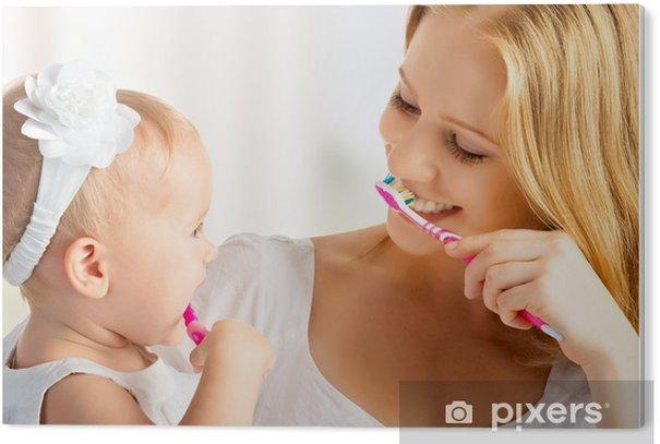 Tableau PVC Mère et fille petite fille se brosser les dents ensemble - Bonheur