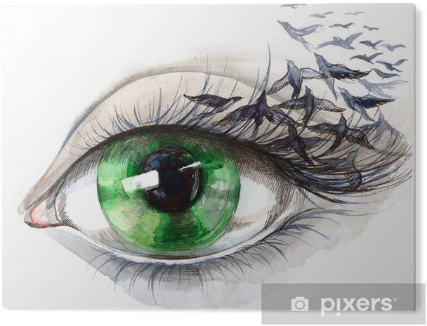 Tableau PVC Oeil avec des oiseaux (série C) - Styles