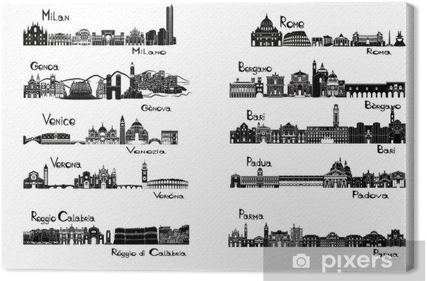 Tableau sur toile 10 villes d'Italie - signts silhouette - Europe