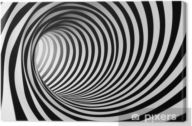 Tableau sur toile 3d abstrait en spirale en noir et blanc - Styles