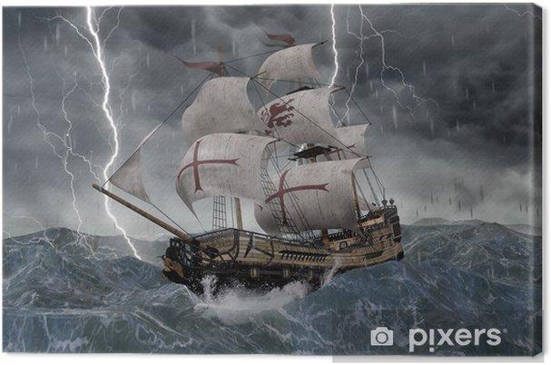 Tableau sur toile 3D galion de bateau de navigation dans les mers orageuses - Bateaux