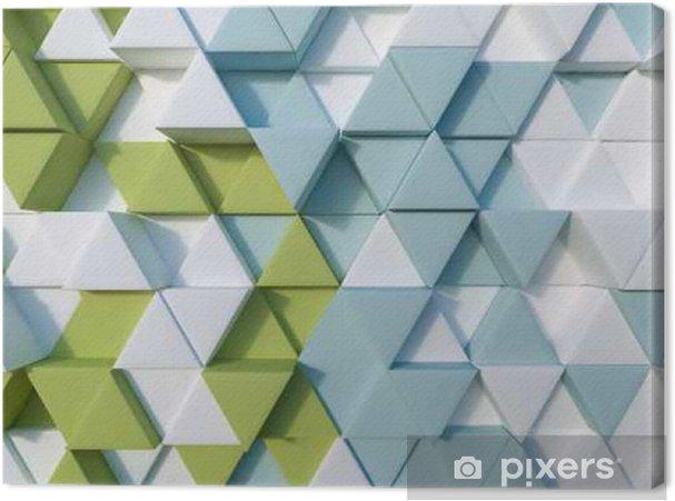 Tableau sur toile 3d triangle abstrait vert et bleu - Ressources graphiques