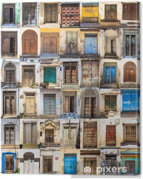 Tableau sur toile 42 portes avant collage horizontal de Stone Town, Zanzibar - Maisons et jardins