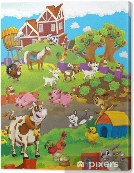 Tableau sur toile À la ferme - l'illustration heureux pour les enfants - Pour enfant 5 ans