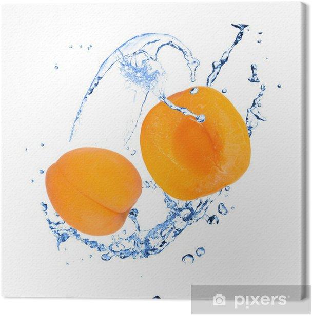 Tableau sur toile Abricot avec les projections d'eau sur fond blanc - Fruits