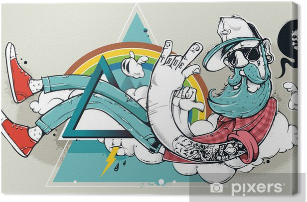 Tableau sur toile Abstract graffiti hippie - Passe-temps et loisirs