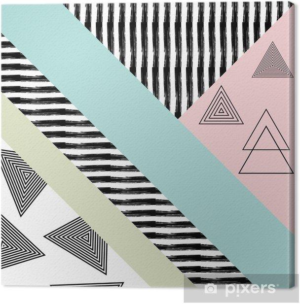 Tableau sur toile Abstract main motif géométrique dessiné - Ressources graphiques