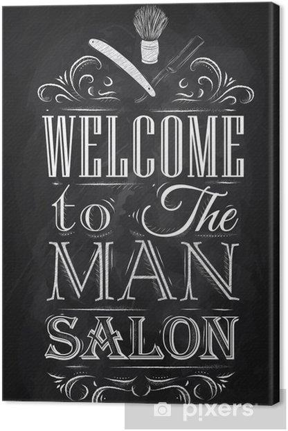 Tableau sur toile Affiche Barbershop bienvenue à l'homme salon dans un style rétro et -