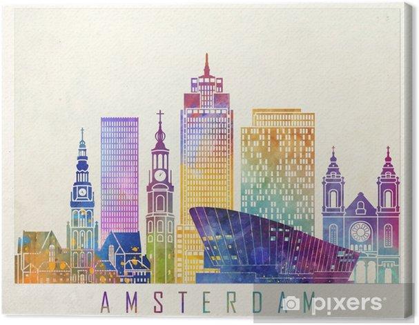 Tableau sur toile Affiche d'aquarelle d'amsterdam landmarks - Paysages