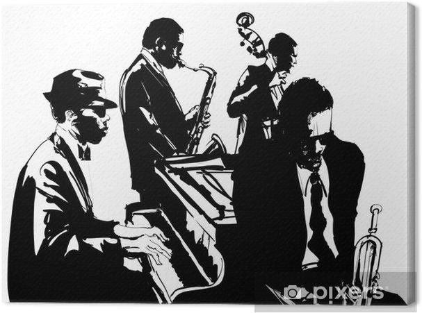 Tableau sur toile Affiche de jazz avec saxophone, contrebasse, piano et trompette - Musique