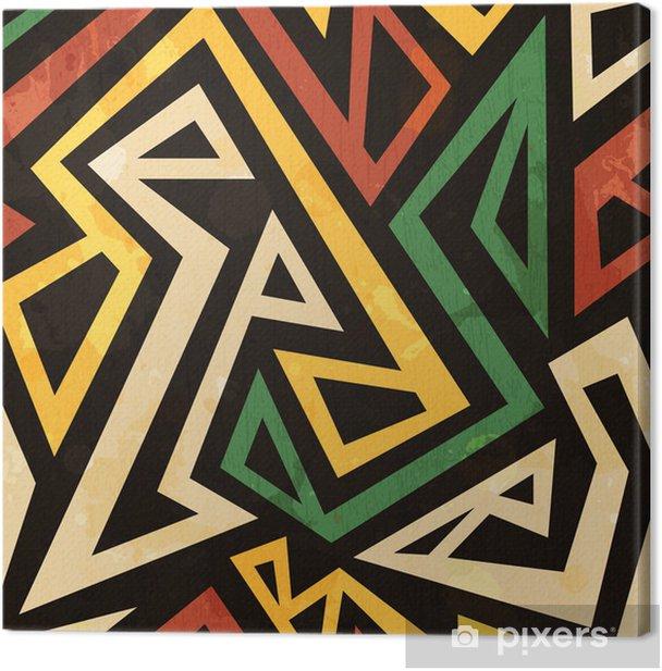 Tableau sur toile Africain motif géométrique parfaite avec effet grunge -