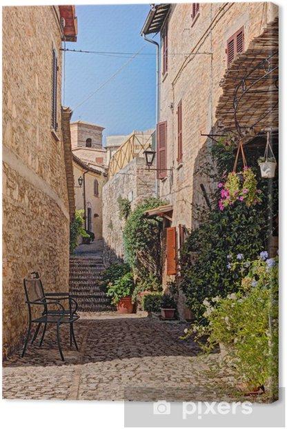 Tableau sur toile Allée avec des fleurs d'une petite ville en Ombrie, Italie - Thèmes