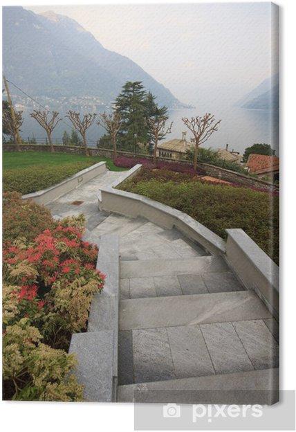 Tableau sur toile Allée et jardin à Faggeto Lario - Lac de Côme