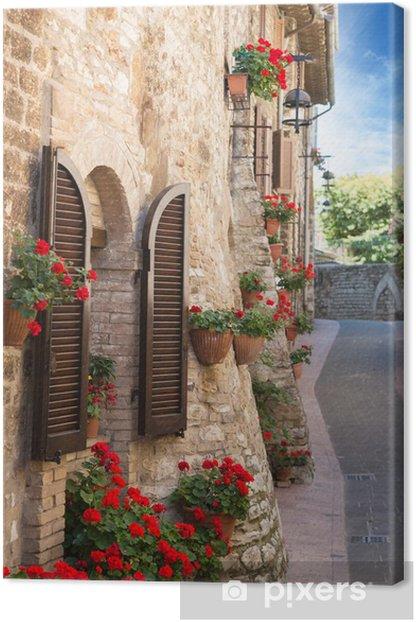 Tableau sur toile Alley avec des fleurs - Thèmes