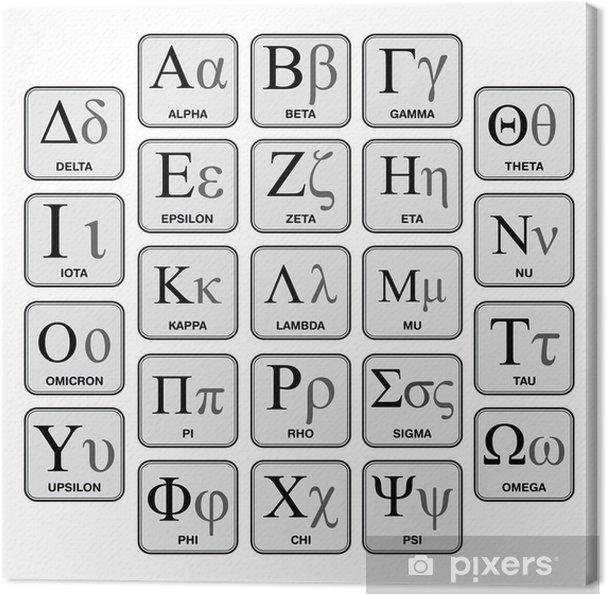 Tableau sur toile Alphabet et symboles grecs, graphique fabriquée à la main - Thèmes