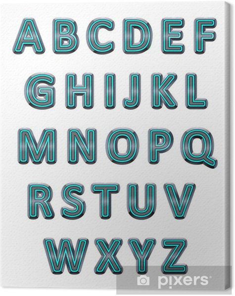 Tableau sur toile Alphabet métallisé. - Abstrait