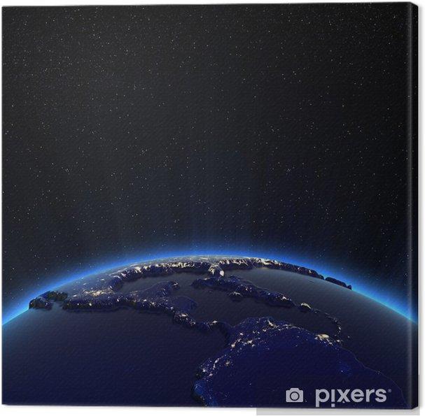 Tableau sur toile Amérique centrale et des Etats-Unis lumières de la ville la nuit - Espace