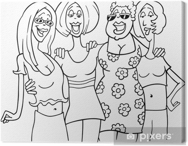 Tableau sur toile Amies illustration de bande dessinée - Célébrations