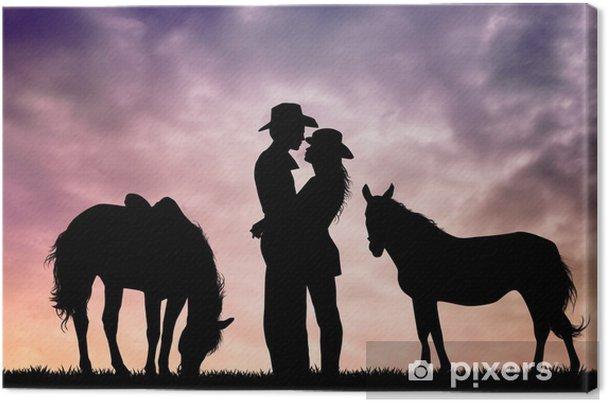 Tableau sur toile Amour de cheval - Couples