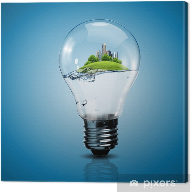 Tableau sur toile Ampoule électrique et une usine à l'intérieur - Ecologie