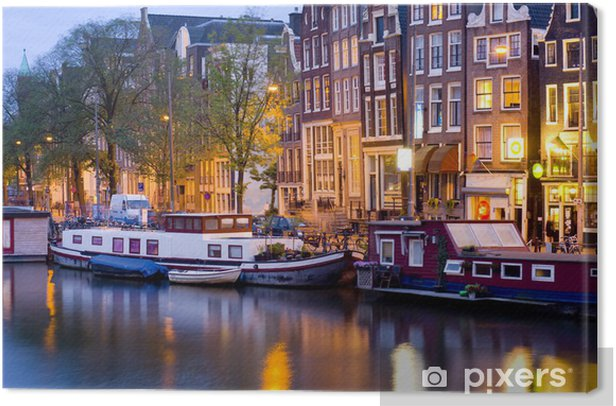 Tableau sur toile Amsterdam la nuit - Villes européennes