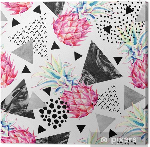 Tableau sur toile Ananas aquarelle et modèle sans couture de triangles texturés. - Ressources graphiques