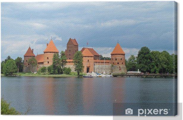 Tableau sur toile Ancien château qui se reflète sur le lac en Lituanie - Europe