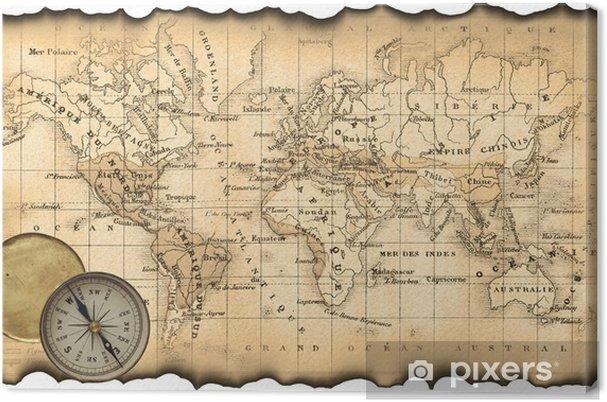 Tableau sur toile Ancienne carte du monde. Boussole - Thèmes