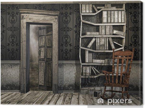 Tableau sur toile Ancienne salle poussiéreuse avec une chaise berçante et livres - Textures