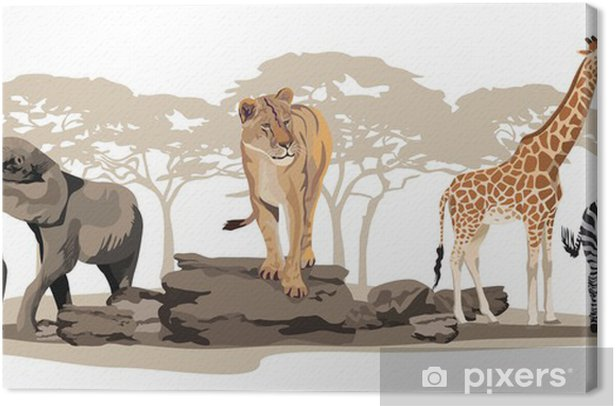 Tableau sur toile Animaux africains - Sticker mural