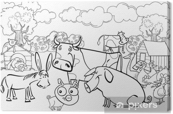 Animaux De La Ferme Pour Coloriage.Tableau Sur Toile Animaux De La Ferme Pour Livre De Coloriage